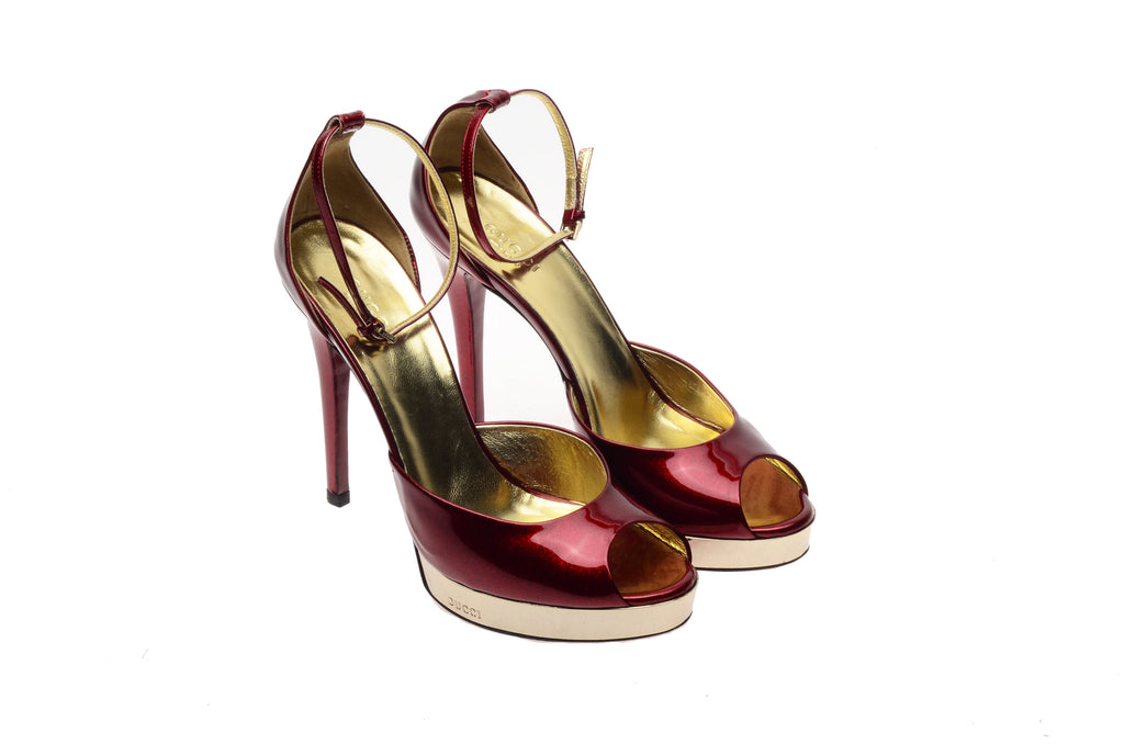 Iconic Tom Ford for Gucci - Patent Red Peep Toe Pumps with Gold Accent - 8