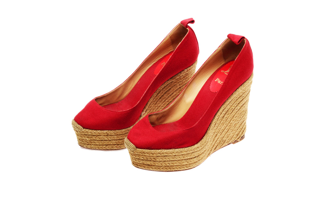 Christian Louboutin - Red Platform Ankle Wrap Wedge - IT 39