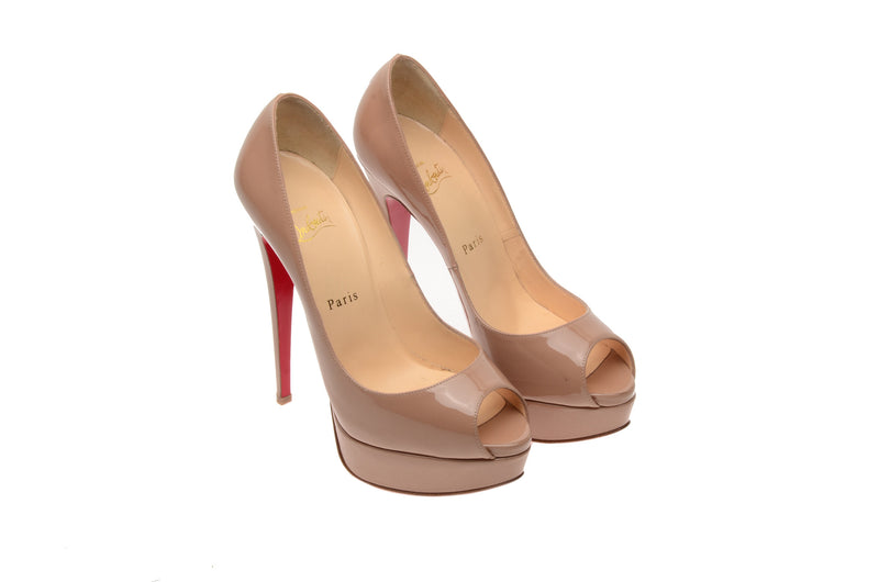 Christian Louboutin - Nude Patent Lady  Peep  Pumps  160 mm- IT 38 1/2