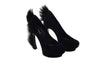 YSL - Black Suede Pumps with Kid Hair Heel - IT 38 1/2