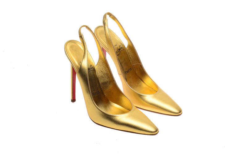 Copy of Christian Louboutin - Gold Sling Backs Pointed Toe - IT 38 1/2