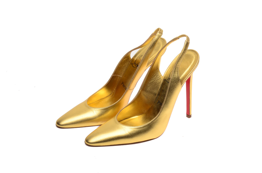 Christian Louboutin - Gold Sling Backs Pointed Toe - IT 38 1/2