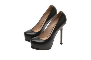 "YSL - Olive Green ""Tribute"" Leather Pump - IT 38 1/2"