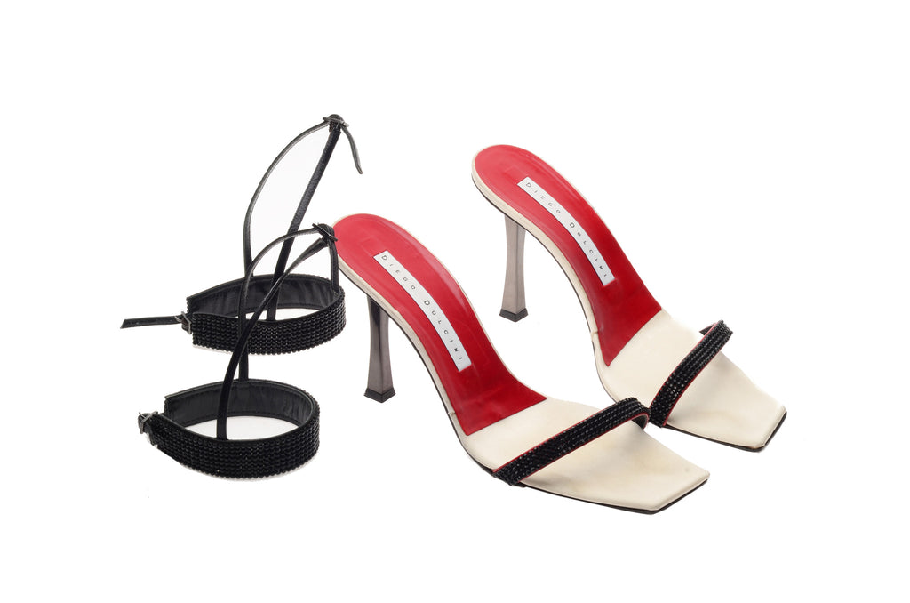 Diego Dolcini - Tan Sandals with Black Ankle Attachments - IT 38 1/2