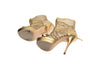 Versace - Gold back Zip Strappy platform sandals - IT 39