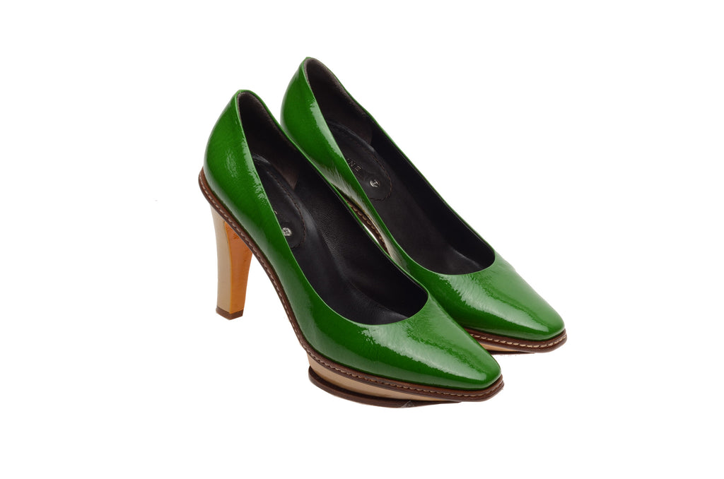 Celine - Green Patent Leather and Beige Platform Heel - IT 38