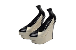 Louis Vuitton - Silver and Black Wedge High Heel - IT 38 1/2