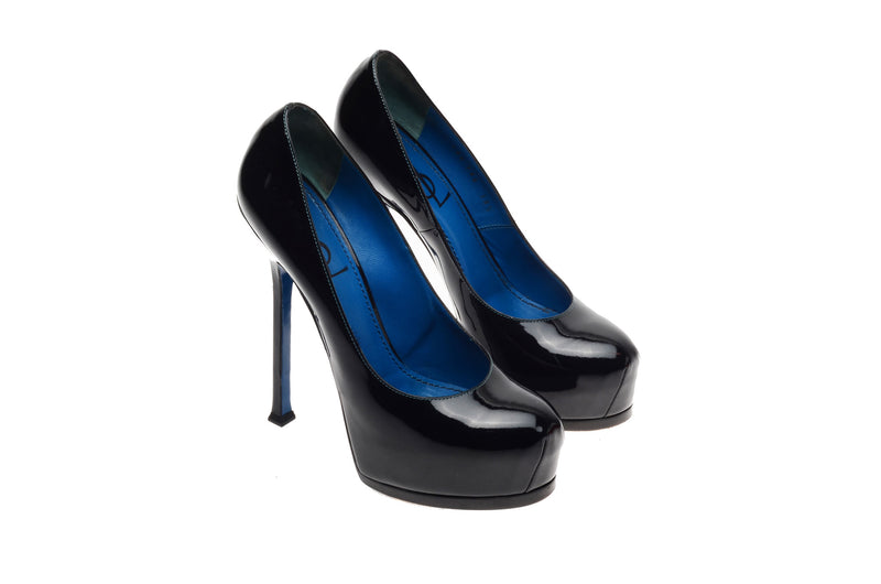 Yves Saint Laurent - Black Patent Platform Pumps - IT 38 1/2
