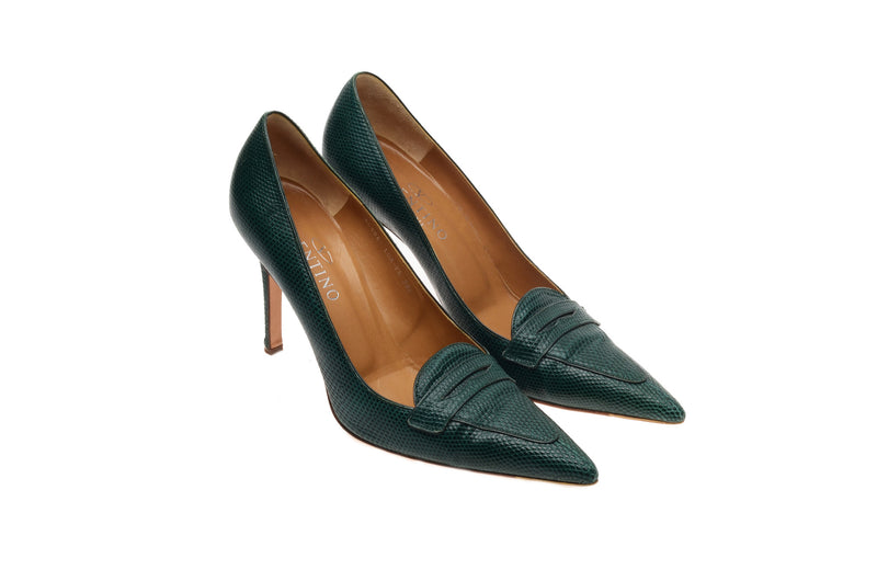 Valentino - Green Lizard Pointed Heels - IT 38 1/2