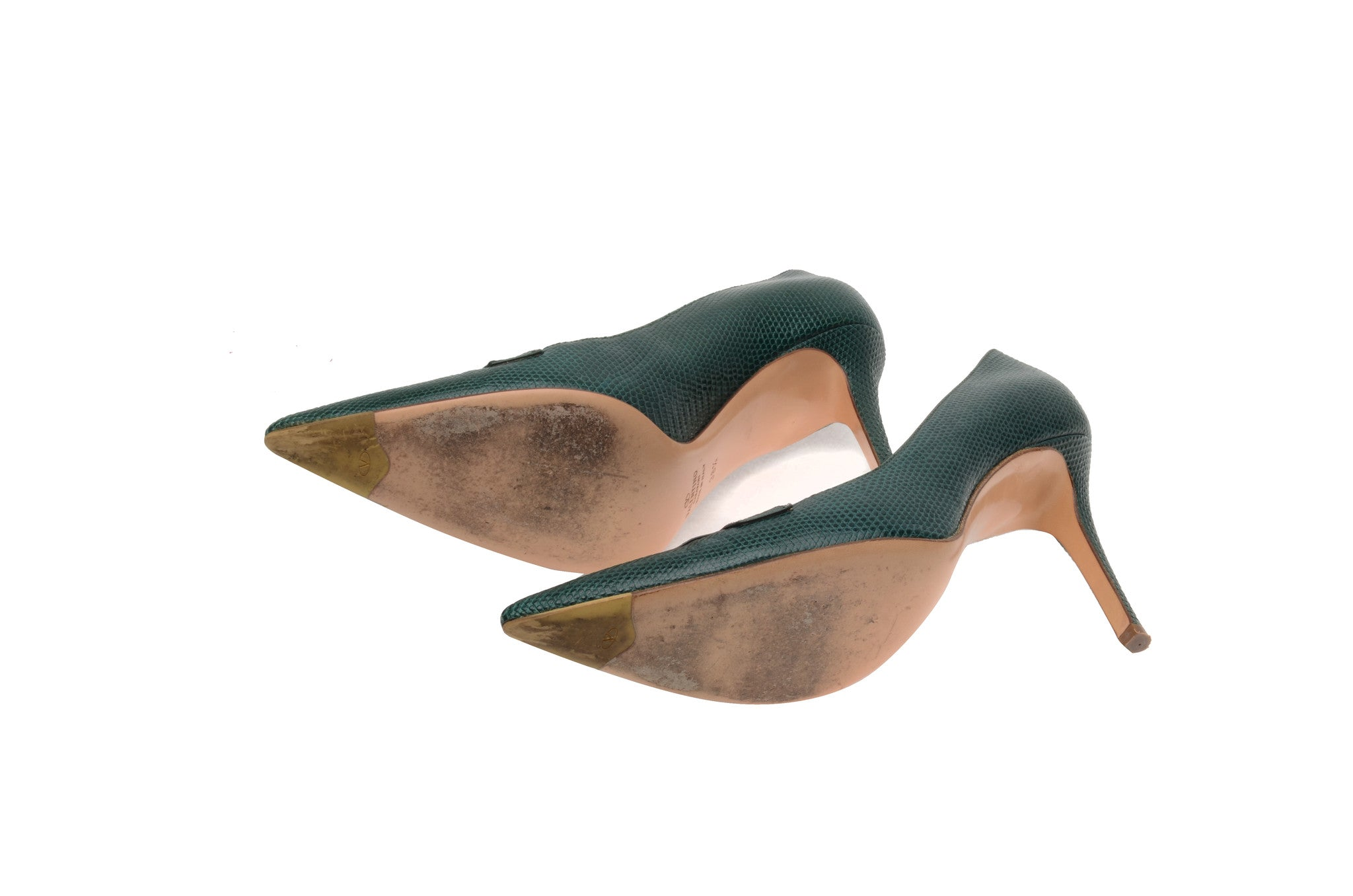 running shoes high quality discount sale Valentino - Green Lizard Pointed Heels - IT 38 1/2 – LUXHAVE