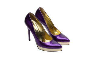 Iconic Tom Ford for Gucci - As Seen on the 2006 Runway Collection - Purple Sparkly Pumps with Gold Platform - US 8