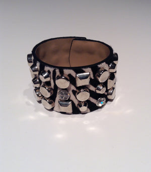 Blumarine - Pony Hair Zebra Print and Stud Snap Cuff - Adjustable