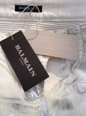 Balmain - Unique White Moto-Style Skinny Jeans with Silver Coating - FR 40