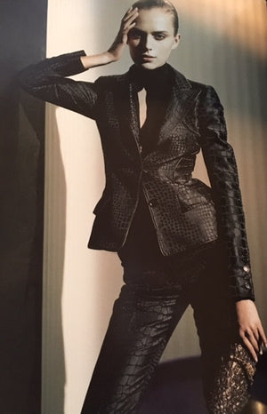 Roberto Cavalli - 2PC Black Alligator Print Pant Suit with Blazer - IT 42