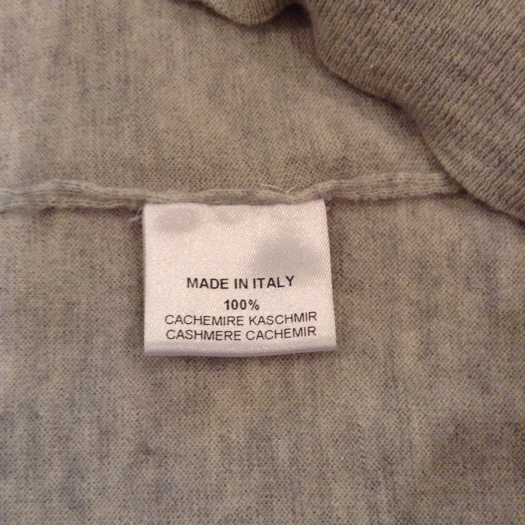 Hermes - Grey Zip Neck Cashmere Sweater with Red Collar - XL
