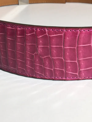 Authentic Hermes - Iconic 'Collier De Chien' Crocodile Belt  Fuchsia - Adjustable