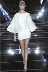 Marchesa - White Dress with Rose Puffy Sleeves - US8