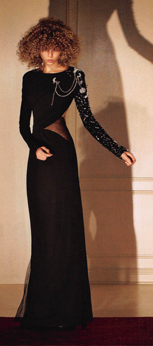 Roberto Cavalli  - As Seen on the Spring 2009 Runway Collection - One Shoulder Black Long Sleeve Gown - IT 40
