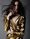 Saint Laurent - New With Tags Gold Lamé Ruched Long Sleeve Mini Dress - FR 40