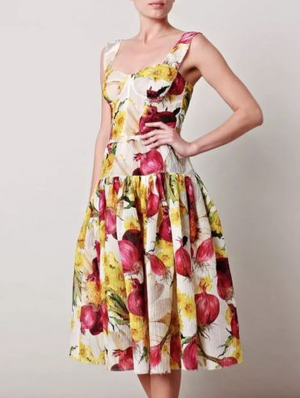 Dolce & Gabbana - As Seen on Spring 2012 Runway Collection - Editorial, Red Onion and Yellow Flower Dress - IT 42