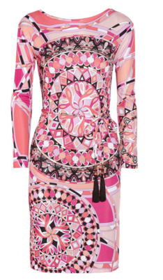 Emilio Pucci - Printed Pink Long Sleeve Jersey Dress with Belt - IT 42