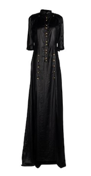 Balmain - Black Long Dress Gold Embellishments - FR 38