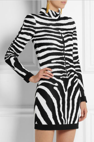 Balmain - As Seen on Rosie Huntington Whiteley - Long Sleeve Zebra Print Mini Dress NWT - FR 40