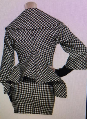 Original Alexander McQueen - As Seen on Beyonce - New With Tags 2PC Houndstooth Skirt & Jacket - IT 40