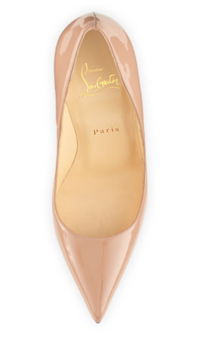 "Christian Louboutin - ""So Kate"" 120 Nude Patent Point Toe High Heel - IT 39"