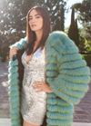 Dolce & Gabbana - Long Green and Blue Natural Fur Coat- IT 40