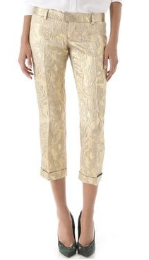 Dsquared2 - As Seen on the 2012 Fall Runway Collection, Look 6 - New Gold Brocade Trousers - IT 42