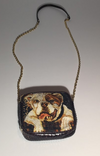 Dolce & Gabbana - Bulldog and Floral Handbag with Gold Metal Chain Link Strap and Python