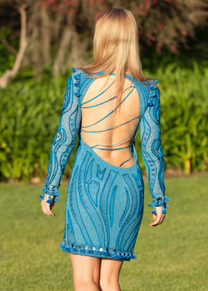 Emillio Pucci - Editorial, Blue Sheer Open Back Embroidery Dress - IT 42