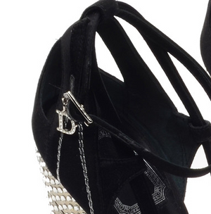 Christian Dior - Black Satin Peep Toe with Swarovski Elements - IT 39
