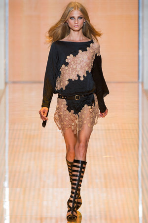 Versace -  Macrame Belted Nude + Black  Long Sleeve Mini Dress - IT 42