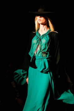 Saint Laurent - NWT 2PC Long Sleeve Emerald Dress with Black Cape - FR 40