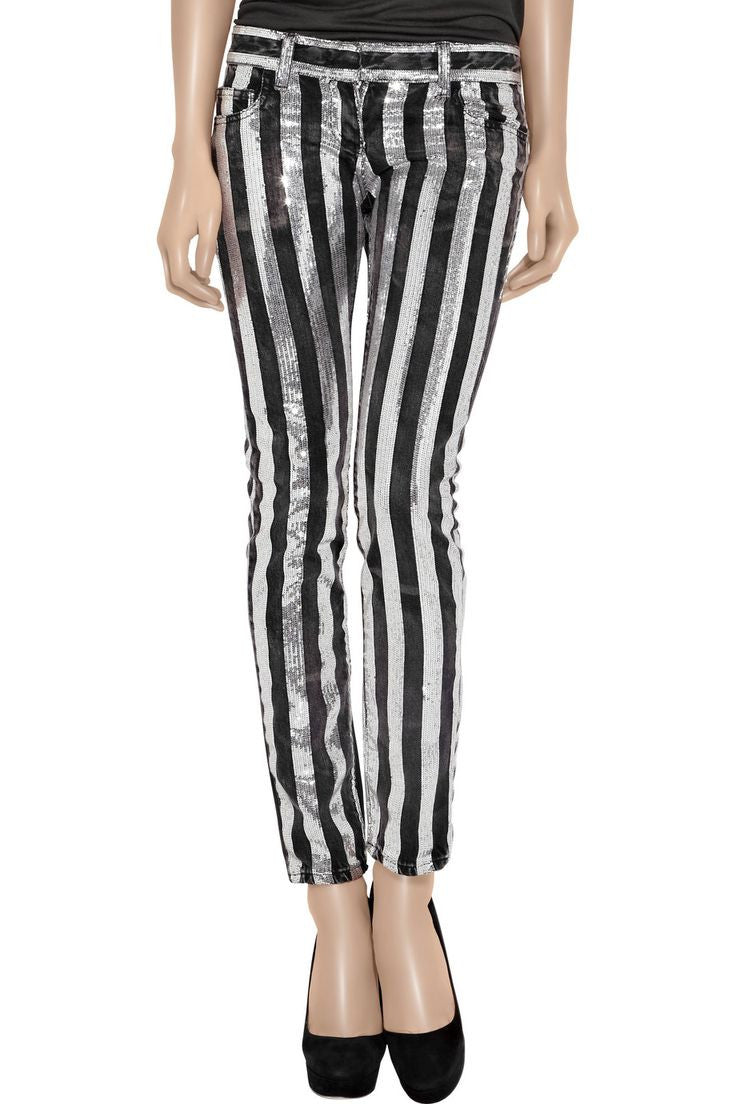 Balmain - Black and Silver Embellished  Striped Jeans - FR 40