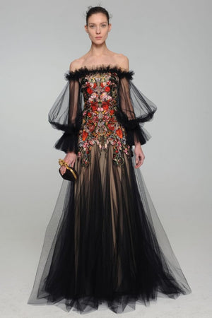 Alexander McQueen - Black Tulle Sleeves Off Shoulder Red Embellished with Nude Underlay - IT 40