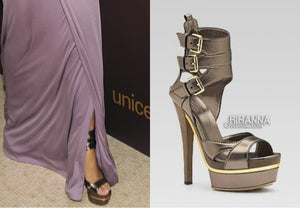 Gucci - Iman  Bronze Platform Pumps with Suede Heel and Ankle Straps - IT 38