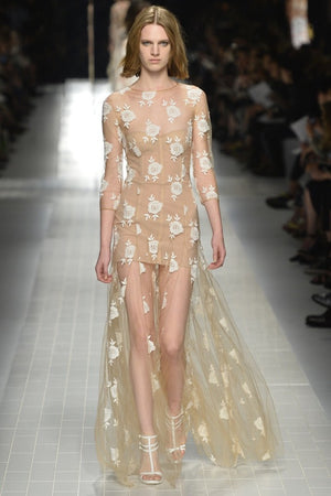 Blumarine - As Seen on the Runway - Editorial, New with Tags, Nude Lace White Gown - IT 44