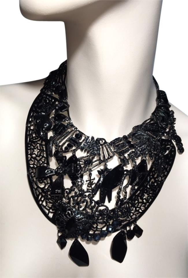 Christian Lacroix - Extremely Rare Black Jeweled Oversized Bib Necklace - One Size