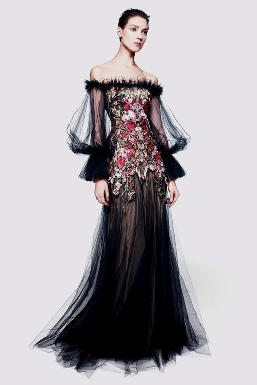474b4f05e4 Alexander McQueen - Black Tulle Sleeves Off Shoulder Red Embellished with  Nude Underlay - IT 40