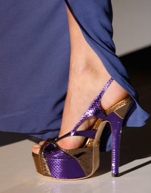 Gucci - Editorial,Bronze and Olive Green Snakeskin Platform Pumps with Ankle Straps - IT 38