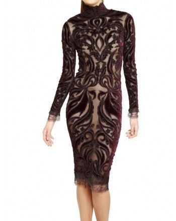 Emilio Pucci - Brand New Long Sleeve Beaded Embellished Burgundy + Black Velvet Dress NWT - IT 42
