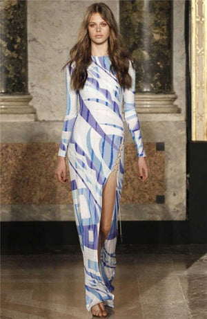 Emillio Pucci - Editorial, As Seen on 2011 Runway Collection and Gwyenth Paltrow - New With Tags Multi Color Long Sleeve Dress - IT 42