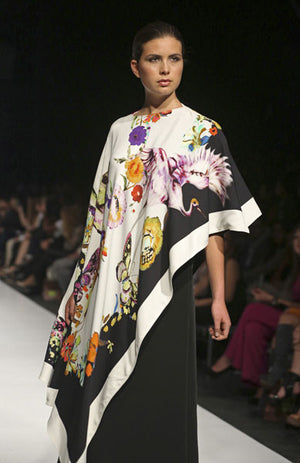 Etro - White, Black and Floral Asymmetrical Printed Stretch Crepe Cape Style Top - IT 42