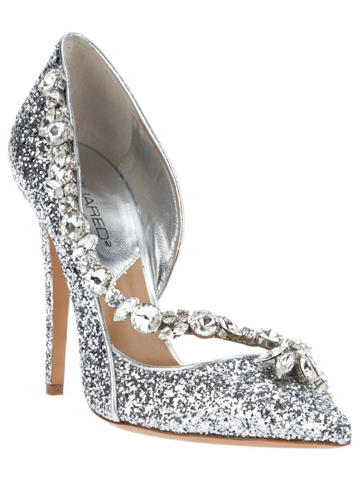 Dsquared2 - As Seen on the 2012 Fall Runway Collection, Look 31 - Silver Glittery Pointed Toe Heels with Crystal Embellishments - IT 38 1/2