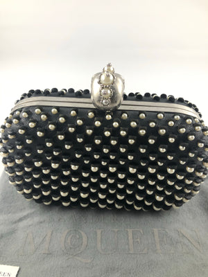 Alexander McQueen leather pearls embellished box clutch