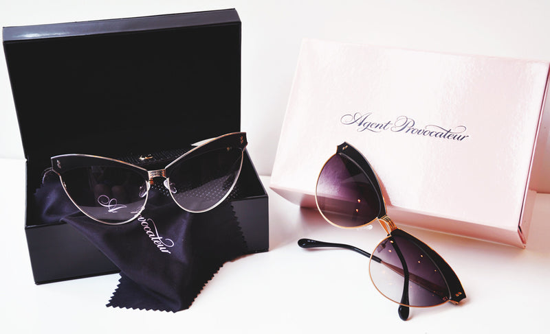 Agent Provocateur by Linda Farrow - Gold and Black Cat Eye Sunglasses