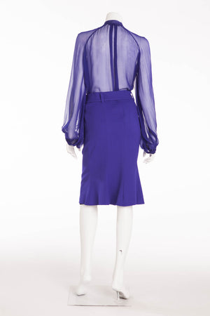 Roberto Cavalli - 2PC Royal Blue Sheer Blouse Top & Skirt - IT 40